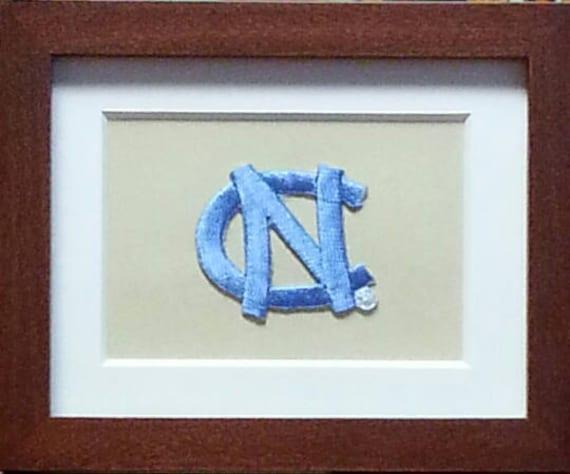 North Carolina Tar Heels Framed Vintage Embroidered Patch