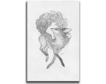 Maned Fox 5.5 x 8.5 Art Print