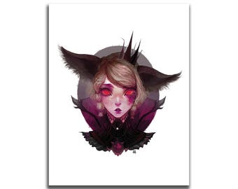 Trashy Kitten Princess 8.5 x 11 Art Print