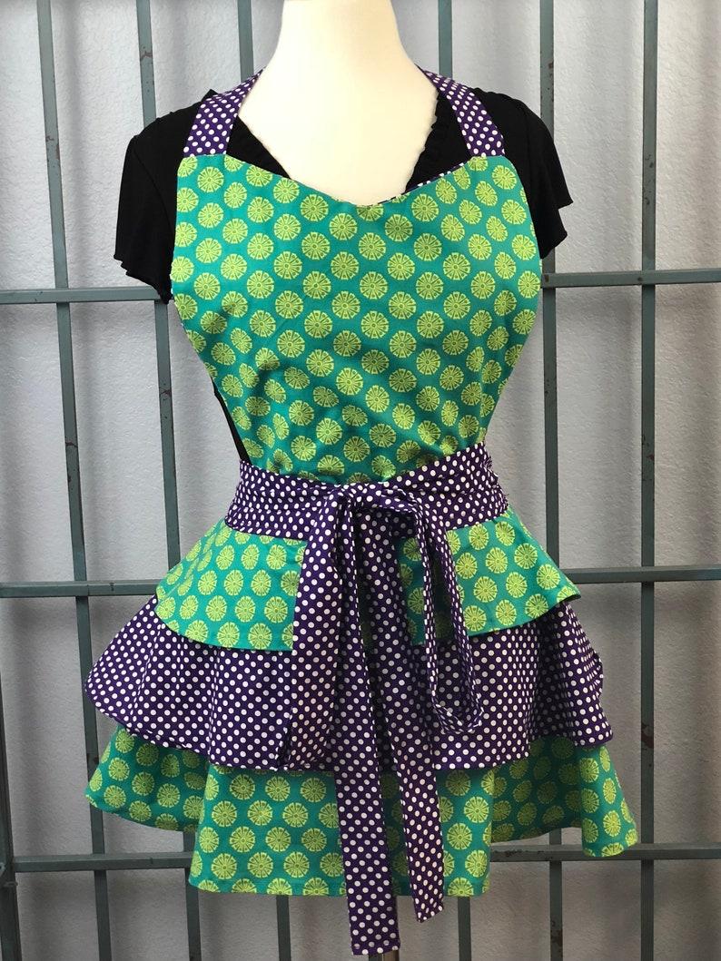 Vintage Green Apron Vintage Apron Purple and Green Apron Vintage Aprons Purple and white polkadot Apron Green Apron Layered Apron