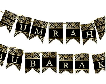 Umrah Mubaraka Banner Royal Diy Decoration Islam Eid Decor Paper Banner