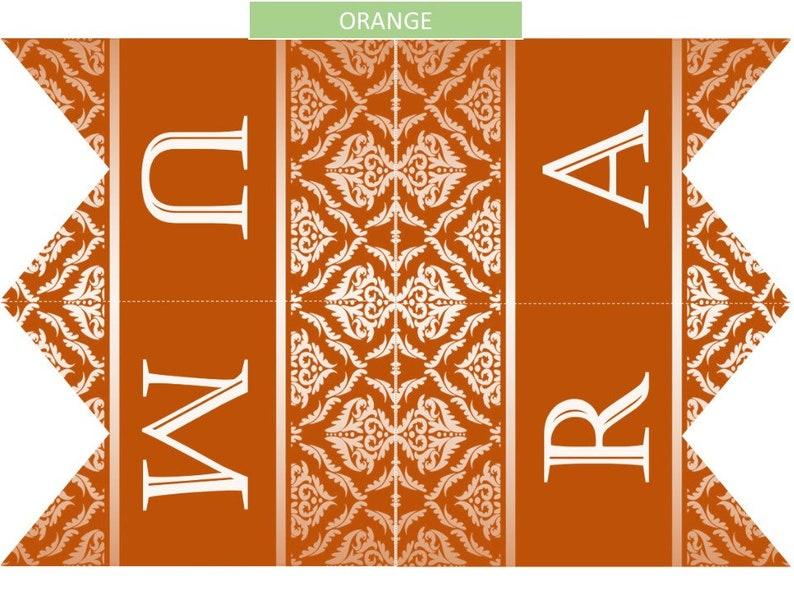 ORANGE Umra Mubaraka banner instant download Printable Royal DIY Decoration Islam Eid decor 4 letters per page