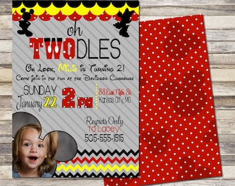 Mickey Mouse Oh Toodles Birthday Invitation Look Whos Turning 2 And Minnie Party
