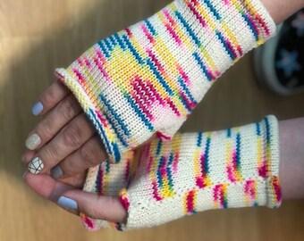 Fingerless mittens rainbow sprinkles| Wrist warmers | fingerless gloves