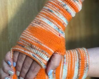 Fingerless mittens rainbow orange cream| Wrist warmers | fingerless gloves