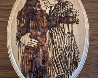 """Addams Family Morticia and Gomez Tango Accent Sign Handmade Wood Burning Pyrography Wall Hanging / Sign Home Decor 5"""" x 7"""""""