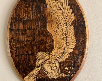 Weeping Angel Handmade Wood Burning Pyrography Wall Hanging Plaque / Sign Home Decor