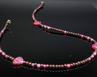 Carved pink Tourmaline, Ruby and Rosewood necklace