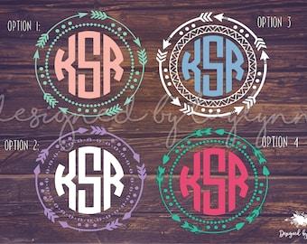 Arrow Border Decal, Arrow Monogram, Arrow Decal, Decals, Monogram Decals, Monograms, Arrow Monogram Decals, Yeti Decal, Car Decal,