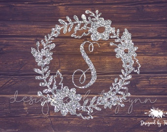 GLITTER Flower Border decal, Floral monogram decal, Decals, Yeti Decal, Car Decal, Birthday gift, Bridesmaid gift, Personalized Decal, Decal