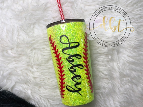 Crafts Softball Glitter Tumbler