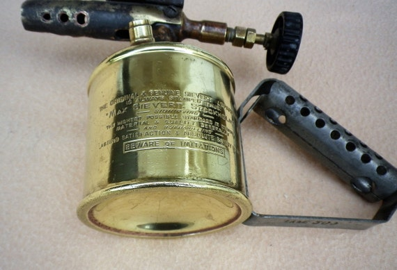 Sievert Brass Blow Torch Type 209, Swedish Blow Lamp, 1/2 Pint (0 25 liter)  For Benzoline, Max Sievert Made in Stockholm, Collectible Tool
