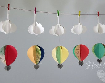 6 Hot Air Balloon Decorations-oh the places you will go-decorations- graduation party-baby shower decorations
