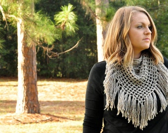 Fringe Scarf, Triangle, Scarf Wrap, Gifts for Her, Mesh, Net, Fall and Winter Accessories