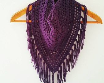 Purple Triangle Scarf, Fringe Scarf, Crochet Wrap