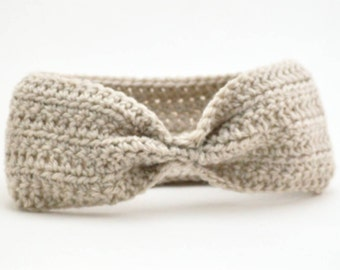 Cinched Headband, Ear Warmer, Crochet Turban