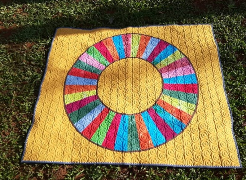 rainbow quilt donut quilt ombre q homemade quilt sale couch throw modern quilt Modern throw quilt patchwork quilt sale rainbow quilt