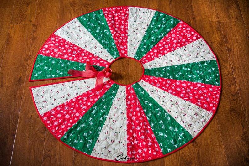 Christmas Tree Skirt Quilted Christmas Tree Skirt Christmas Etsy