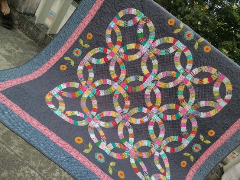 Double Wedding Ring Quilt.Double Wedding Ring Quilt Wedding Gift Homemade Quilt Heirloom Quilt Full Size Quilt Modern Wedding Quilt Patchwork Quilt Sale