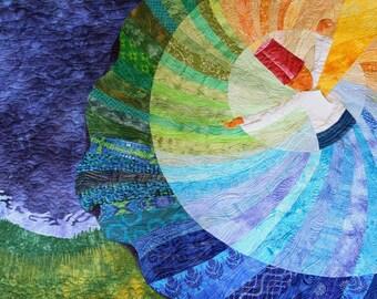 Wall art quilt. Rumi art. Persian art. Fiber art. Blue wall art. Dervish art. Contemporary art. Color gradation quilt. Textile art.
