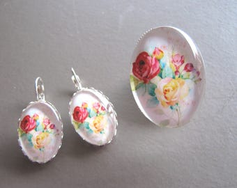 Watercolor flowers glass Cabochon earrings and ring