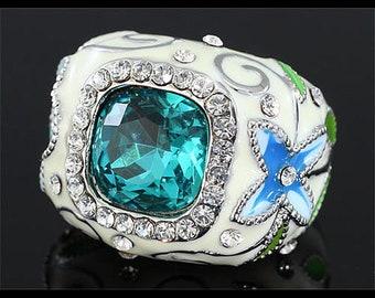 Vintage Aqua Blue Crystal and enamel ring