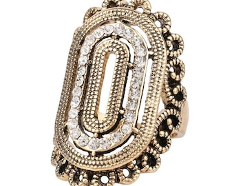 Old gold and Swarovski Baroque Style oval ring