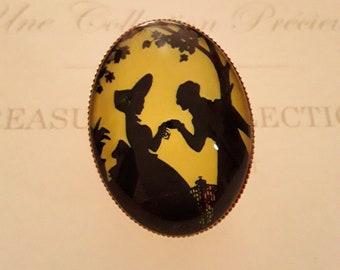 """""""Conter Fleurette"""" glass Cabochon Dome ring"""