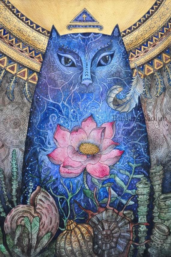 Mermaid cat Spiritual illustration Tiwaz rune Pagan decor Asatru Lotus  flower Moon Shamanic Sea Witch Mythology gift Original Wall art print