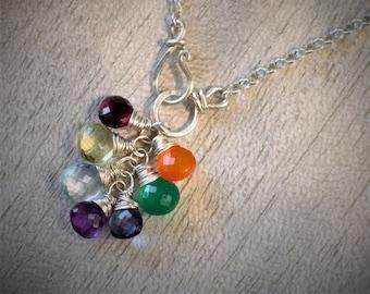 Statement Necklace - Gay Pride - Rainbow - Rainbow Necklace  - Gemstone Necklace - Rainbow Gemstones - Chakra Necklace