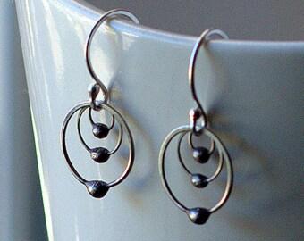 Small Hoop Earrings - Tiny Hoop Earrings - Silver Hoop Earrings - Silver - Minimalist Earrings - Science Jewelry