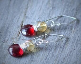 Garnet Earrings - Citrine Earrings - Garnet - Citrine - Silver - Gemstone Earrings - Fall Jewelry - Fall Colors  -multi stone