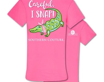 c210c05cf SC Classic -Alligator Pink Tee Shirt | Careful I Snap - southern couture -  Navy short sleeve t-shirt. Can be monogrammed