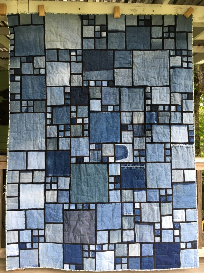 Stained Glass/Denim Quilt Pattern image 1
