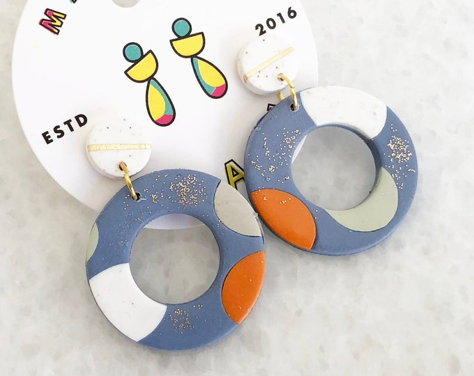 BUBBLY | White Blue Gold Orange Circular Dangle Earrings | Unique Lightweight Handmade Statement Earrings | Gift for Her, Sis, Mum, Wife