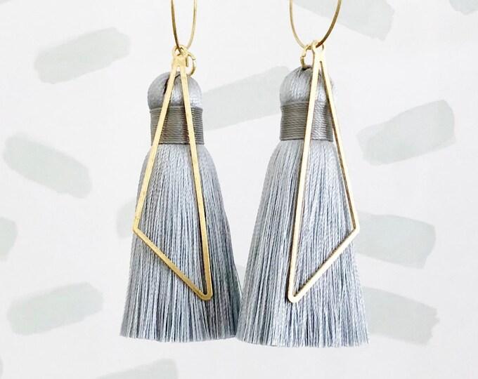 Silver Grey Silk Tassel and Geometric Triangle Brass Dangle Earrings | Quality Tassel | Handmade Statement Earrings | Gift for Her, Mum, Sis