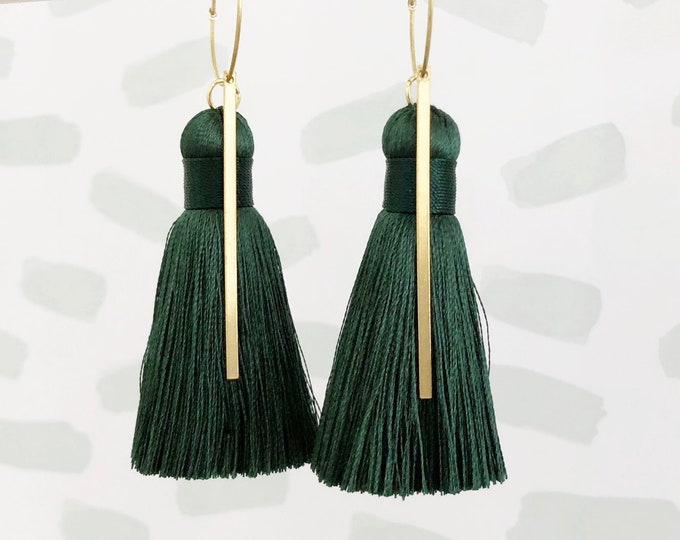 Dark Green Silk Tassel and Raw Brass Stick Dangle  Drop Earrings | Quality Tassel | Handmade Statement Earrings | Gift for Her, Mum, Sis