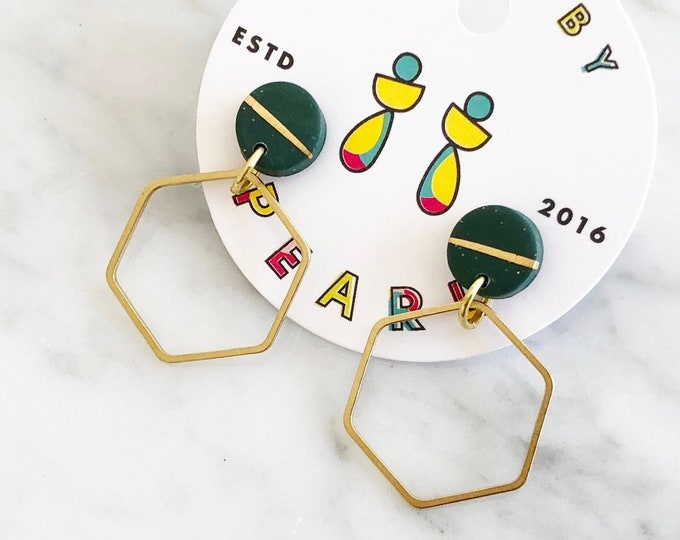 BASICS | Dark Green Stud and Large Raw Brass Hexagon Dangle Earrings | Hypoallergenic Surgical Steel | Birthday Gift Idea