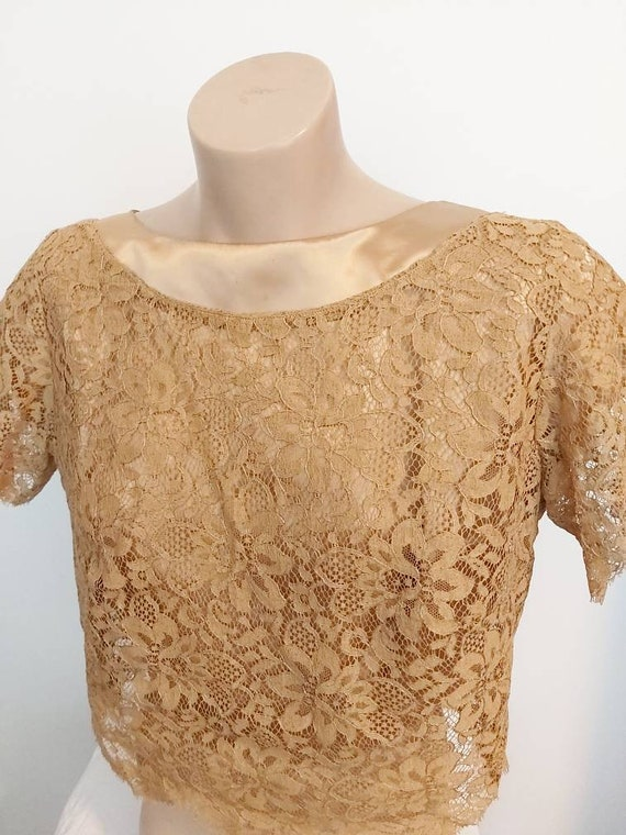 Vintage 1960s gold satin blouse with lace overlay