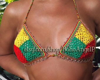 c6b0652822968 Rasta crochet bikini set Brazilian scrunch bottoms swimsuit Jamaica Cuba  sexy gipsy boho swimwear   IN STOCK ReAdDy To sHip