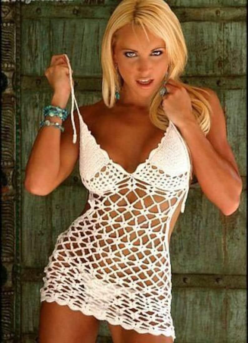 dd1967f5cac42 Sexy mesh dress bikini cover up hollow out beach club crochet | Etsy