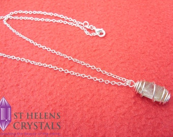Dainty Spiral Caged Rutilated Quartz Pendant Necklace, Silver spiral caged, Crystal Point Gemstone Healing Crystal, by St Helens Crystals