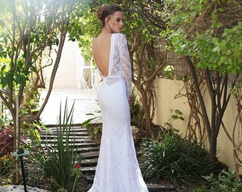 White wedding dress,lace wedding dress,wedding gown,wedding dress,white lace wedding dress,long sleeve lace wedding dress