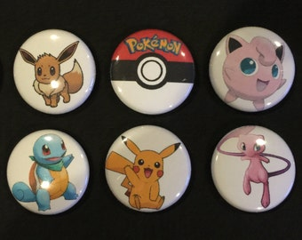 Lot of 10 POKEMON 1/'/' Buttons//Pins PARTY FAVORS!!!!