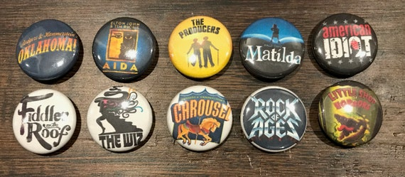 Lot #1 Lot of 10 BROADWAY 1/'/' ButtonsPins PARTY FAVORS!!!!