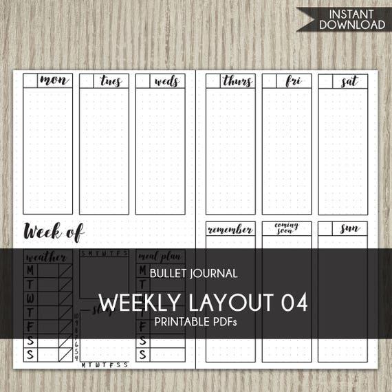 bullet journal template printable planner weekly layout