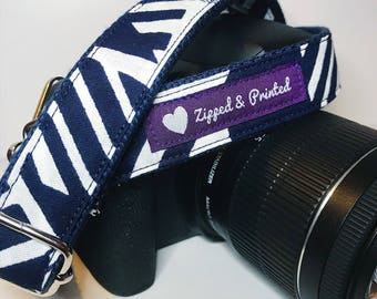 African Print Camera Strap // Camera Strap // Navy and White Camera Strap // Leather-Free Camera Strap