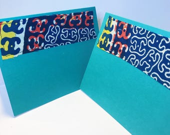 African Print Greeting Card // Turquoise Blank Card // Handmade Fabric Greeting Card // With Envelope