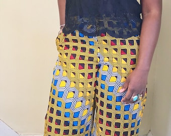African Print Wide-Legged Pants // Elastic Waist Cotton Pants // No Lining // Right Pocket