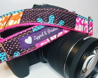African Print Camera Strap // Camera Strap // Pink and Orange Camera Strap // Leather-Free Camera Strap